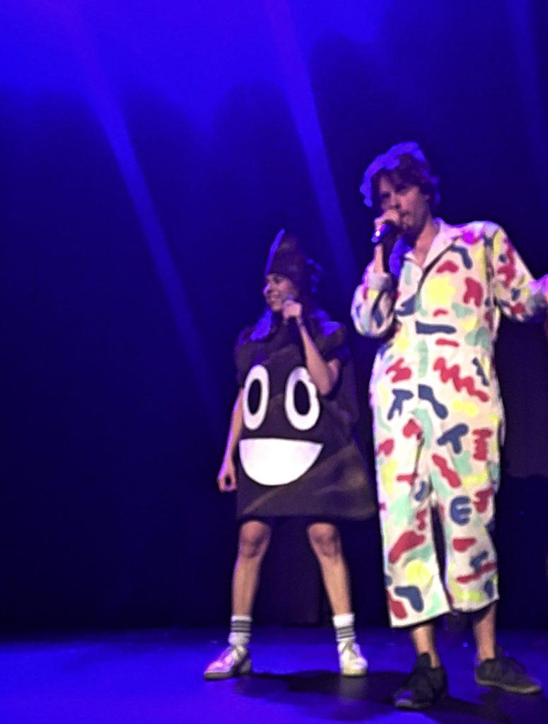Hila dons a poop emoji costume to promote humanure